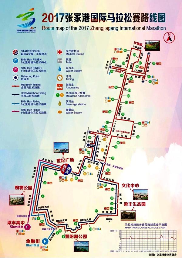 组委会公布了赛事线路图.-2017张家港国际马拉松赛线路确定图片